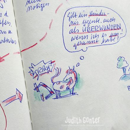 EIN NOTIZBUCH ANFANGEN | WIE SCHAFFE ICH DAS? - ERSTER SCHRITT - VERHINDERNDEN GEDANKEN AUFDECKEN - RÜCKE DEINE ZWEIFEL & AUSREDEN INS RAMPENLICHT! - Judith Ganter - Illustration Hamburg