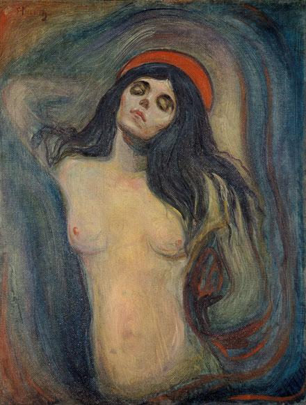 エドヴァンド・ムンク「マドンナ」(1894年)90cm×68cm、ムンク美術館所蔵。一度盗まれたことがある。