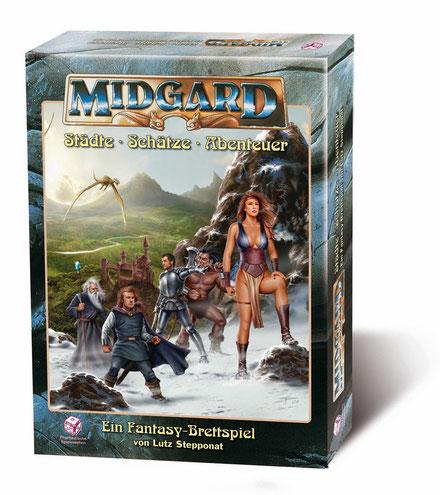 Midgard, das Brettspiel von Lutz Stepponat.  Erschienen im Verlag Phantastische Spielewelten.