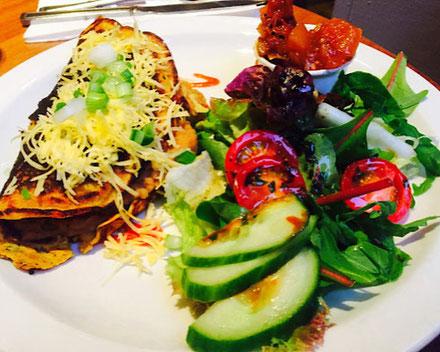 vegan veggie, bean and cheese crepe henderson's edinburgh scotland