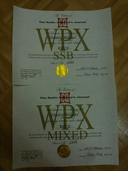 WPX awards for RV9CX