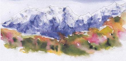 仙人池ヒュッテと後立山連峰(富山県)