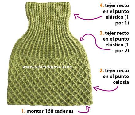 Capa o poncho corto con cuello largo tejida a crochet!