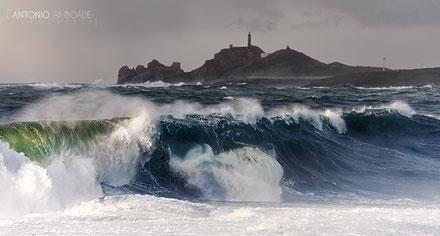 Far del cap Vilán a les Illes Açores, Portugal.