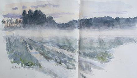 Chemin inondé et brume du soir, aquarelle Jean Chevallier