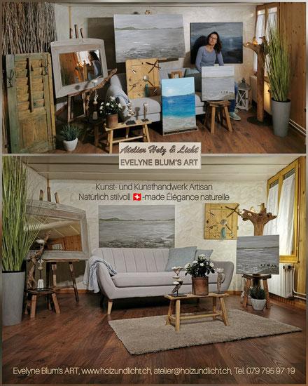 Präsentation Kunst- und Handwerk Evelyne Blum's ART Natürlich stilvoll einrichten Swissmade Atelier Holz & Licht