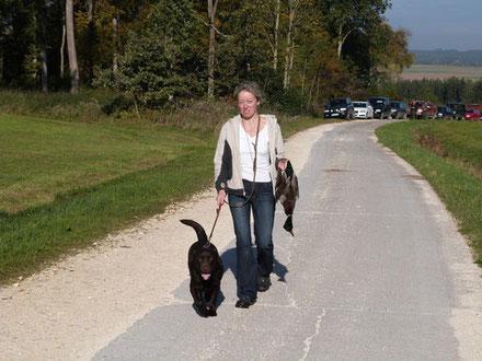 Birka und ich beim Training zur Brauchbarkeitsprüfung