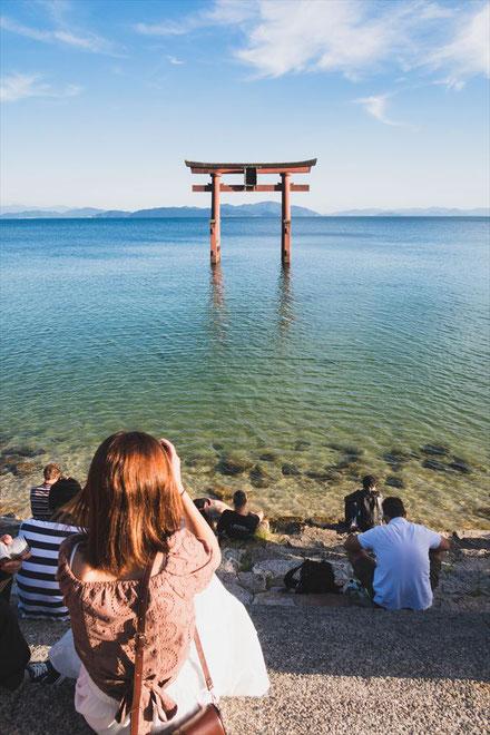 滋賀県琵琶湖「白髭神社」の階段と鳥居