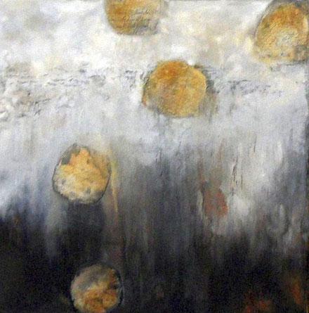 Versteckte Botschaften 3 / Mischtechnik auf Leinwand / 50 x 50 cm