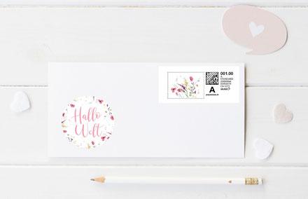 Sticker Geburtskarte Geburtsanzeige Blumen