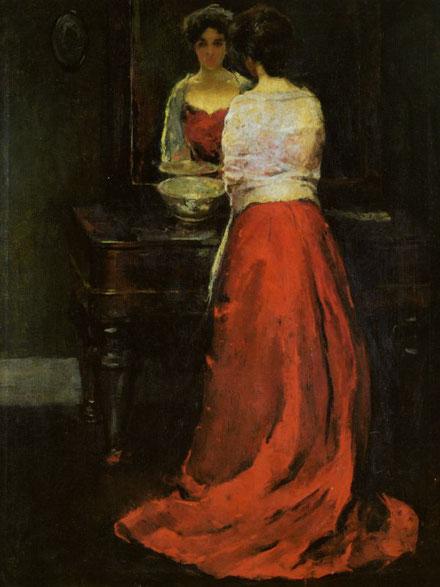 画家チャールズ・ウェブスター・ホウソーンによる「赤い女」の絵