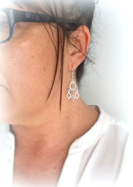 ELIA - Boucles d'oreilles losanges graphiques