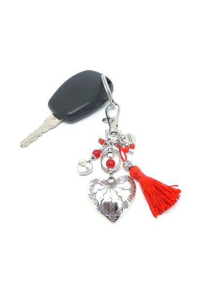 AMOUR - porte clé original coeur pompon rouge bijou de sac