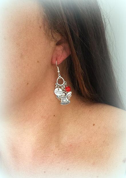 PHILAE - boucles d'oreilles ange, boucles d'oreilles rouges, boucles d'oreilles argent
