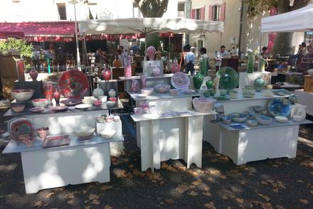 Notre stand au marché potier de Saint Peray -Ardèche-