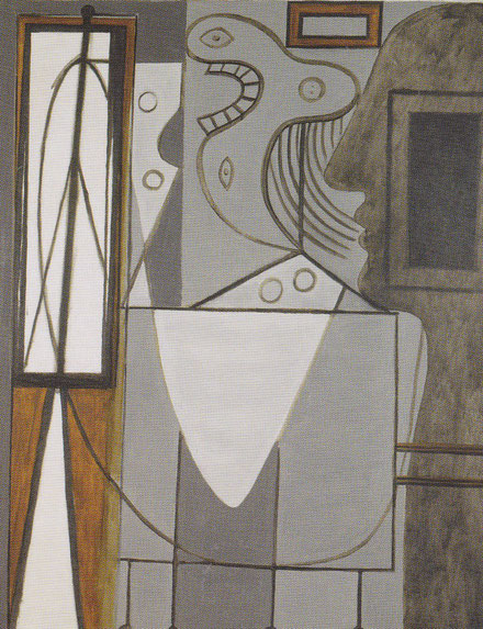 Picasso,el estudio 1928-1929.Óleo sobre lienzo 162x130cm.Centre Pompidou,París. Comienza su proceso de abstracción de las figuras o personajes que sufren una metamorfosis magistral.