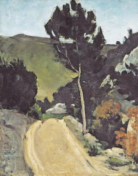 """La curva del camino en Provenza,1866,parece que Cezanne delata su obsesión por la inviolabilidad del paisaje excluyendo al espectador y supuesto intruso de su """"propiedad privada"""""""