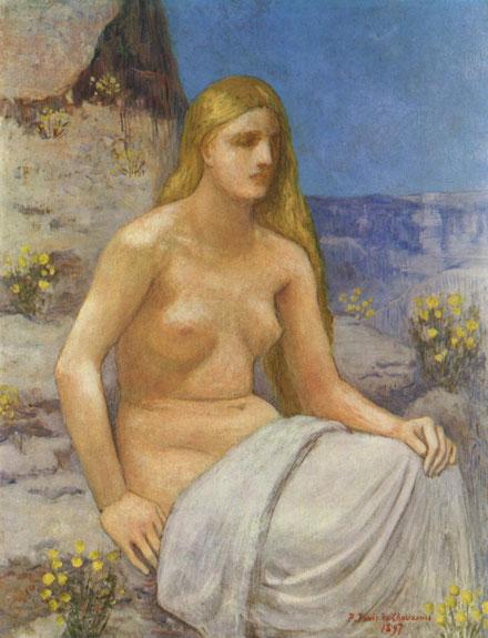 Pierre Puvis de Chavannes.María Magdalena 1897..Importante carácter escultórico con fuerte sentido de la proporción, encontró en las formas geométricas básicas la construcción de la figura femenina.