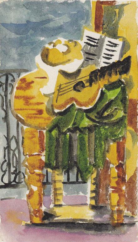 Bodegón delante de un balcón,1919.Guache sobre papel.16x11cm.Colección particular.