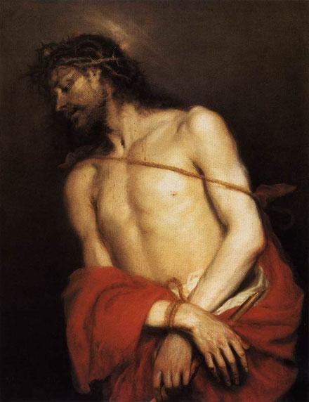 Mateo Cerezo.Ecce Homo 1661.Alumno de Carreño de Miranda, influenciado por Tiziano, Van Dyck,Rubens.Cristo porta la corona de espinas,el manto color púrpura,las manos atadas con la izquierda sostiene una caña rota en alusión a su reino.