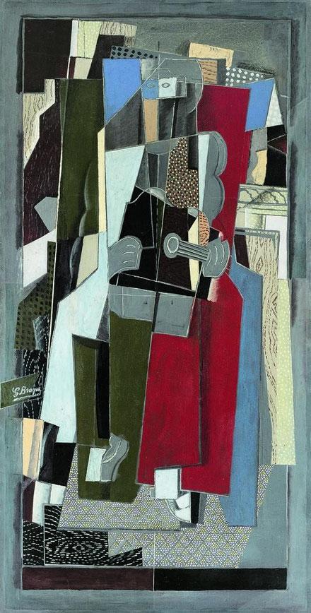 Georges Braque,La músico,1917.Su estrecha relación del arte con la música es patente en su obra.Inventó la técnica del collage o papel pegado.Gran maestro del cubismo, inquieto y exigente.