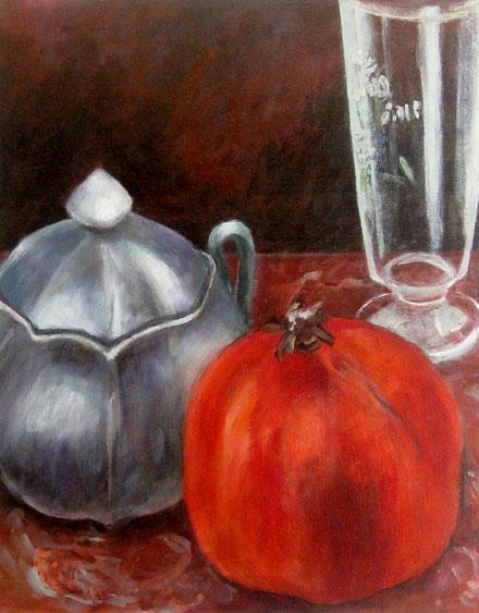 Granatapfel, Zuckerdose und Glas, Öl auf Lw, 40x50