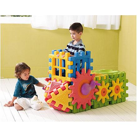 6 blocs engrenage, jeux d'assemblage et de construction