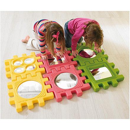 6 blocs miroirs, jeux d'assemblage et de construction