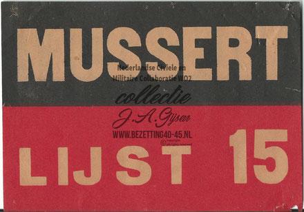 NSB Flyer Mussert Lijst 15, 10 x 15
