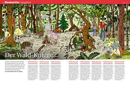 Der Beobachter ist eine alle zwei Wochen erscheinende schweizerische Konsumenten- und Beraterzeitschrift. Illustration: © Niels Schröder