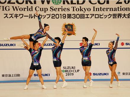 シニアグループ第2位(左から斉藤・金子・青山・河合・北爪)