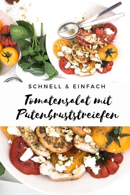 Tomatensalat mit Putenbruststreifen und Basilikumvinaigrette