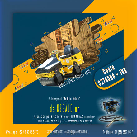 Precio super especial de Rodillo Vibratorio Doble para compactación de suelos, marca Cipsa modelo AR18ha