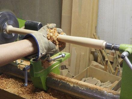 オリジナル横笛(木製継管)LowD管製作中 ~外形仕上げターニング~