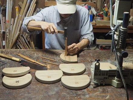 まぁ~るい子供椅子の製作中4~木象嵌~