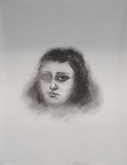 Mourning, 2012. Houtskool op papier, 150x100cm.