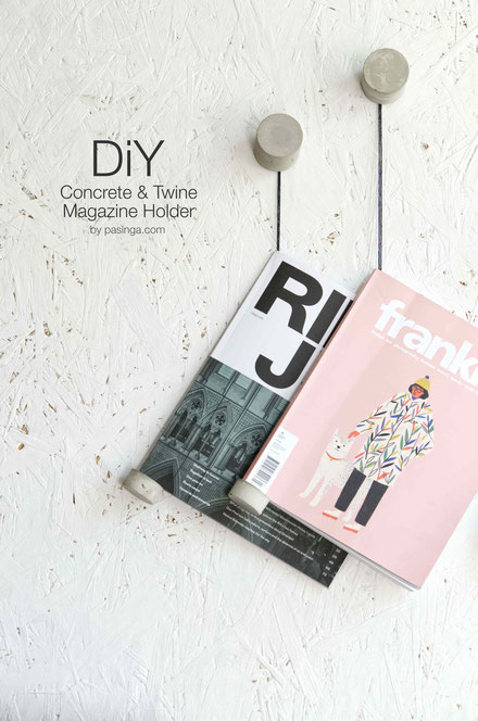 DIY Concrete And Twine Magazine Or Book Wall Display by PASiNGA
