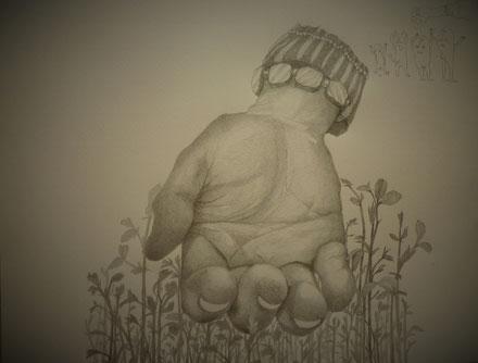 大きな手のママのために手のデッサン