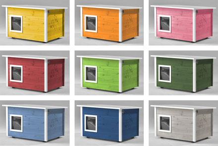 Naturfarbenes und farbiges Katzenhaus (Katzenhütte) von running rabbit, wetterfest, mit und ohne Heizung, isoliert, eigene Herstellung in Deutschland