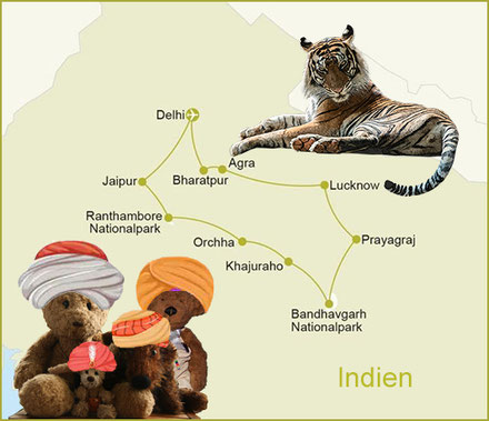 Kasimirs, Cäsars, Fredis und Kerls Reiseroute in Indien