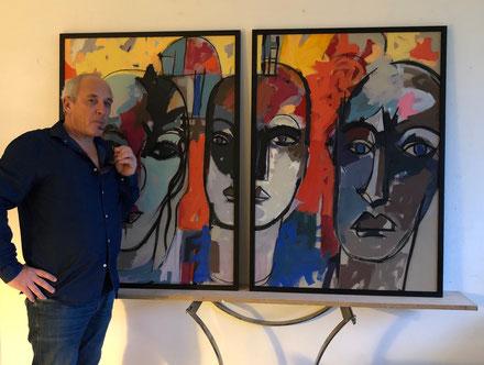Les trois têtes - Février 2019 - 2 fois 80/120 cm collection privée Toulouse