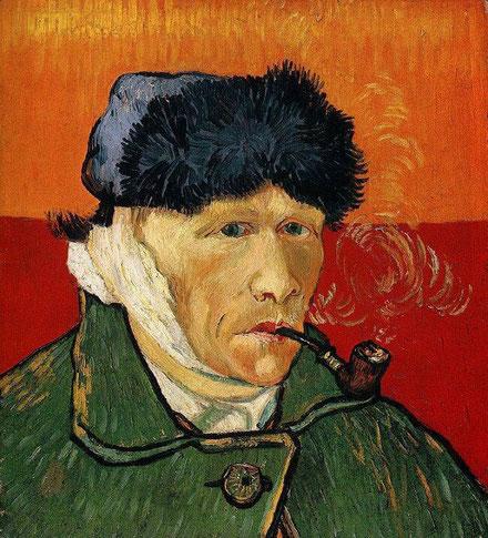 Автопортрет с перевязанным ухом и трубкой - самые известные картины Ван Гога