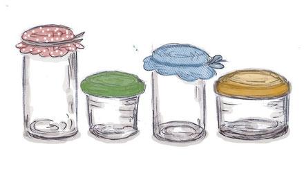 Einmachgläser, Marmeladengläser Zeichnung