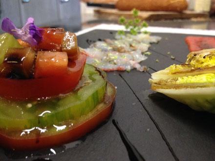 carpaccio de langoustines, tomates d'antan