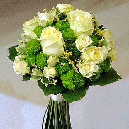 Brautstrauß, weiße Rosen
