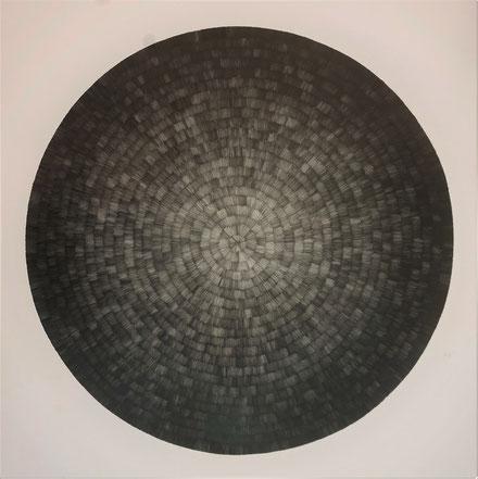 Gewebe (radial) V, 2021, Bleistift auf Papier, 50 x 50 cm