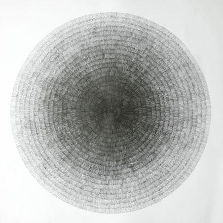 Gewebe (radial) IV, 2021, Bleistift auf Papier, 50 x 50 cm