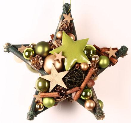 Beidseitiger Stern in grün-gold mit Metallstern