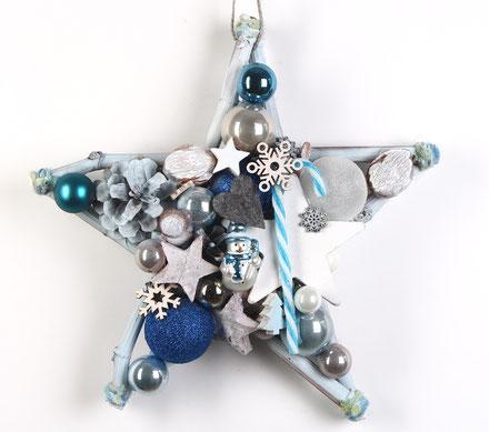 Weiß - blauer Stern mit Schneemann