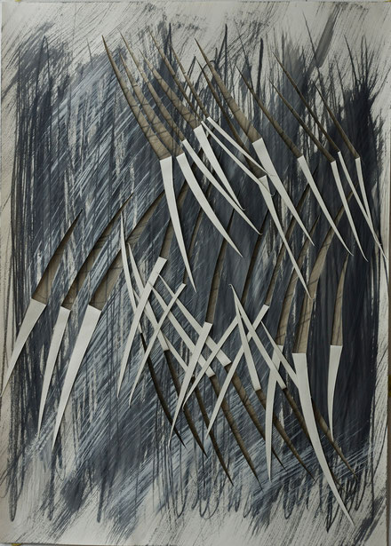 in breath of time   2014   composition in seven fragments     graphite  gouache   crayon  on  paper  50  x  70  cm